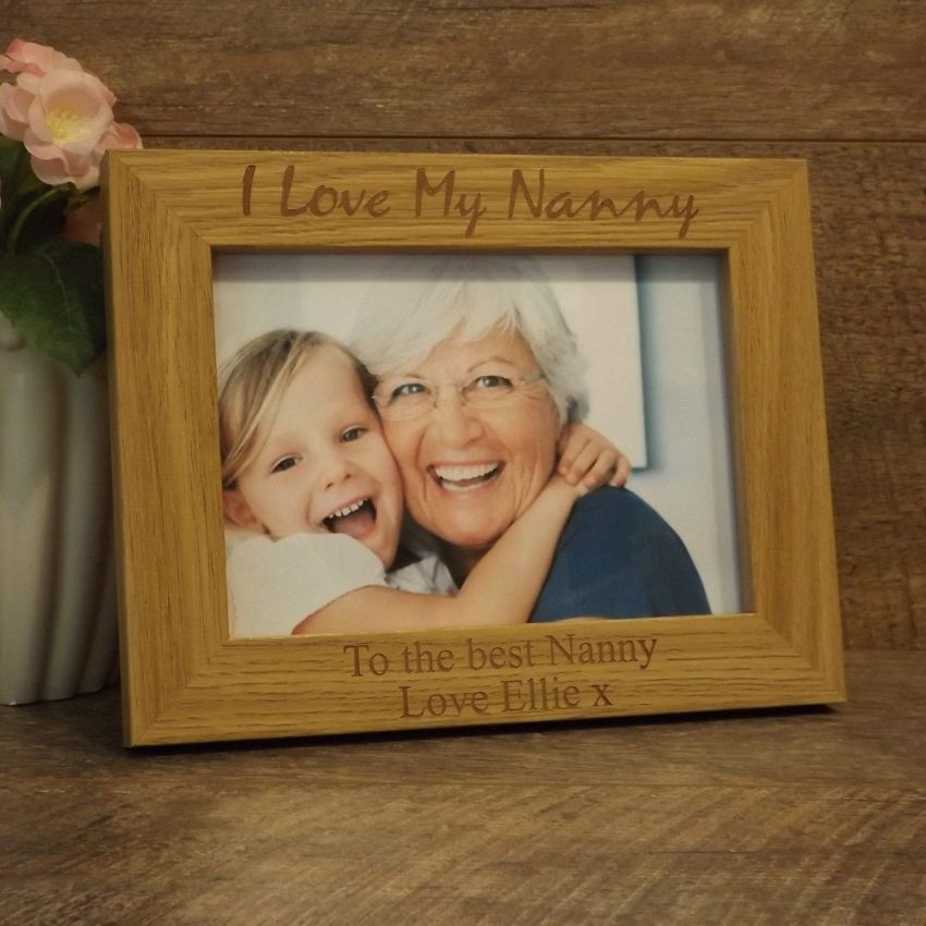 Personalised Wooden Photo Frame I Love My Nanny Nanna Grandma Gift